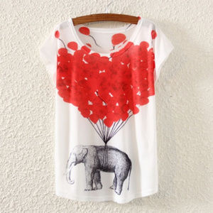 Lightweight Short Sleeves Top Elephant And Baloons